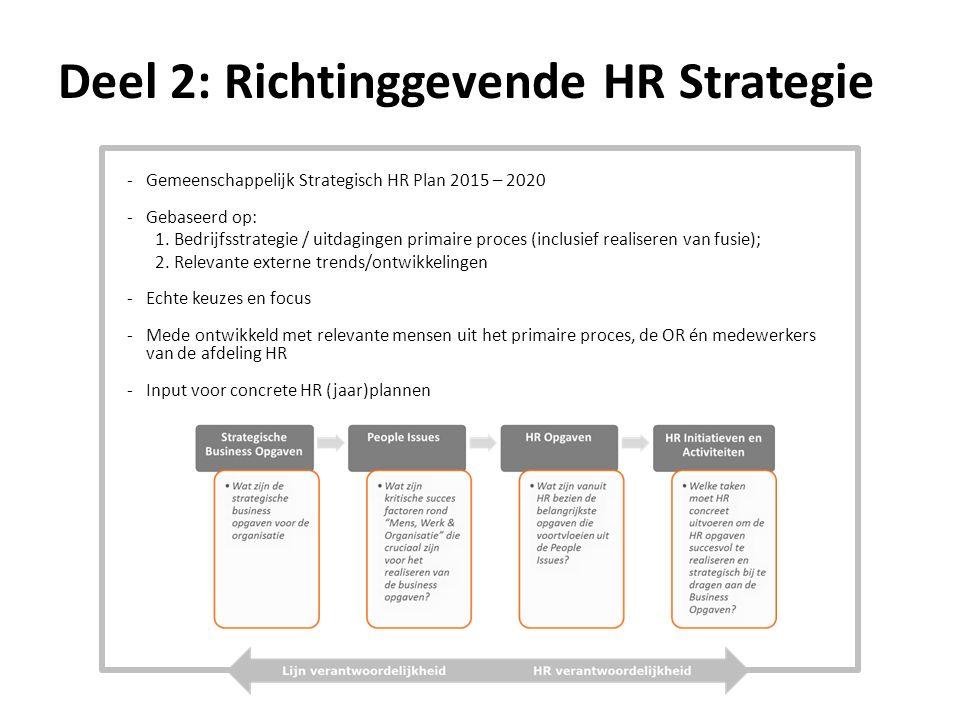 Deel 2: Richtinggevende HR Strategie -Gemeenschappelijk Strategisch HR Plan 2015 – 2020 -Gebaseerd op: 1.Bedrijfsstrategie / uitdagingen primaire proces (inclusief realiseren van fusie); 2.Relevante externe trends/ontwikkelingen -Echte keuzes en focus -Mede ontwikkeld met relevante mensen uit het primaire proces, de OR én medewerkers van de afdeling HR -Input voor concrete HR (jaar)plannen