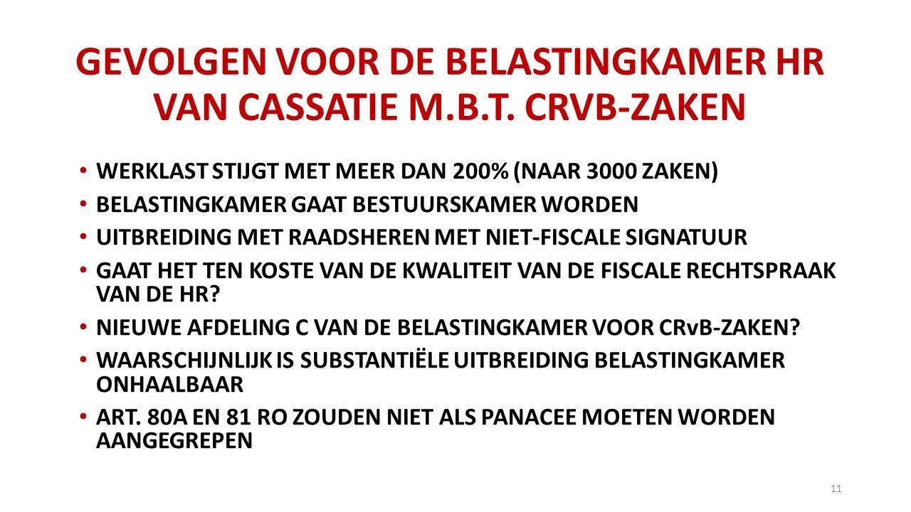 GEVOLGEN VOOR DE BELASTINGKAMER HR VAN CASSATIE M.B.T.