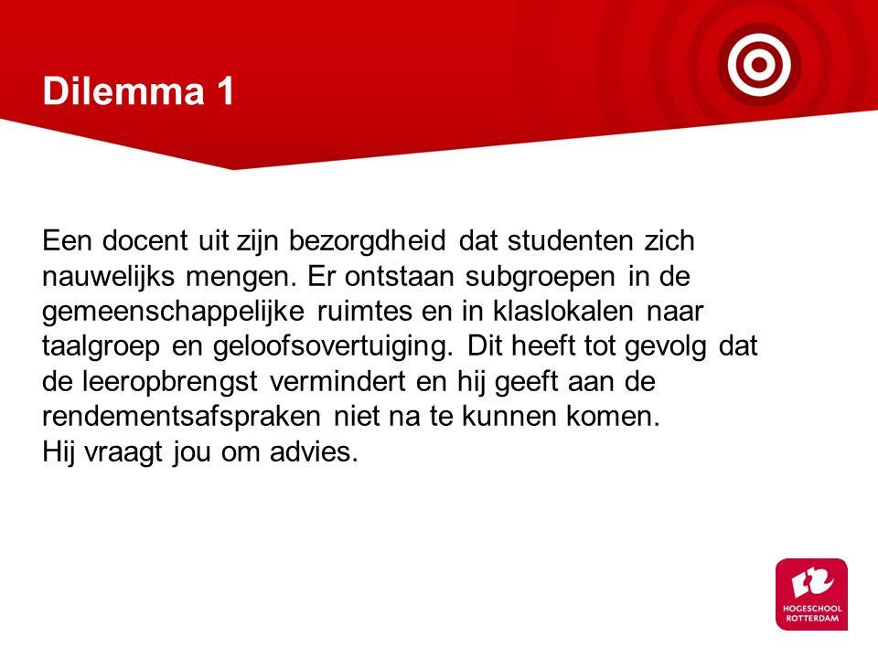 Dilemma 1 Een docent uit zijn bezorgdheid dat studenten zich nauwelijks mengen.