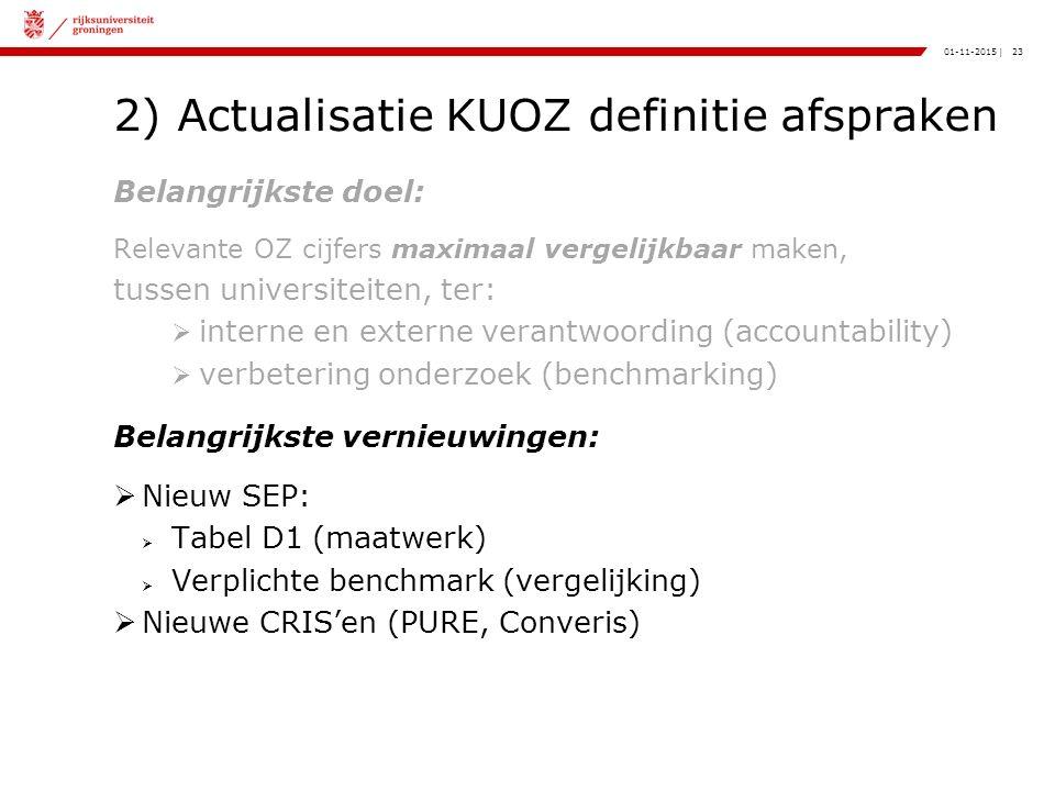 23|01-11-2015 2) Actualisatie KUOZ definitie afspraken Belangrijkste doel: Relevante OZ cijfers maximaal vergelijkbaar maken, tussen universiteiten, ter:  interne en externe verantwoording (accountability)  verbetering onderzoek (benchmarking) Belangrijkste vernieuwingen:  Nieuw SEP:  Tabel D1 (maatwerk)  Verplichte benchmark (vergelijking)  Nieuwe CRIS'en (PURE, Converis)
