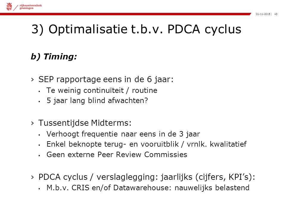 43|01-11-2015 3) Optimalisatie t.b.v.