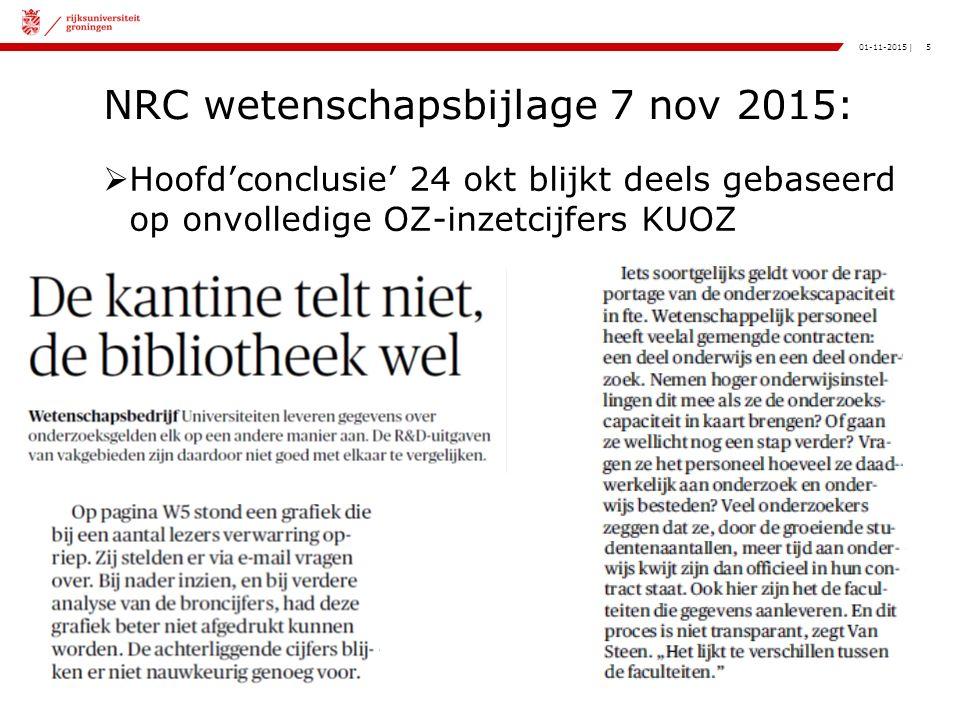 5|01-11-2015 NRC wetenschapsbijlage 7 nov 2015:  Hoofd'conclusie' 24 okt blijkt deels gebaseerd op onvolledige OZ-inzetcijfers KUOZ
