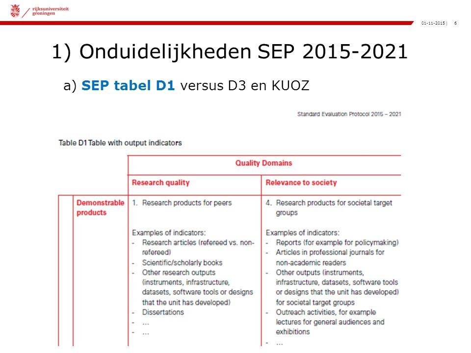 6|01-11-2015 1) Onduidelijkheden SEP 2015-2021 a) SEP tabel D1 versus D3 en KUOZ