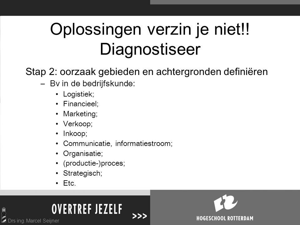 Drs ing. Marcel Seijner Oplossingen verzin je niet!! Diagnostiseer Stap 2: oorzaak gebieden en achtergronden definiëren –Bv in de bedrijfskunde: Logis