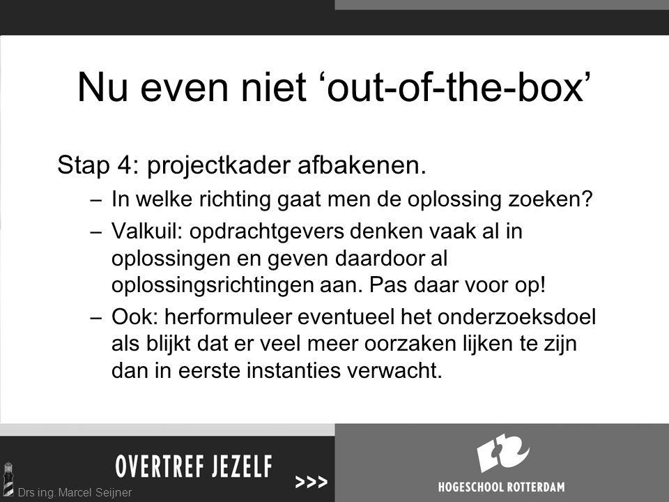 Drs ing.Marcel Seijner Nu even niet 'out-of-the-box' Stap 4: projectkader afbakenen.