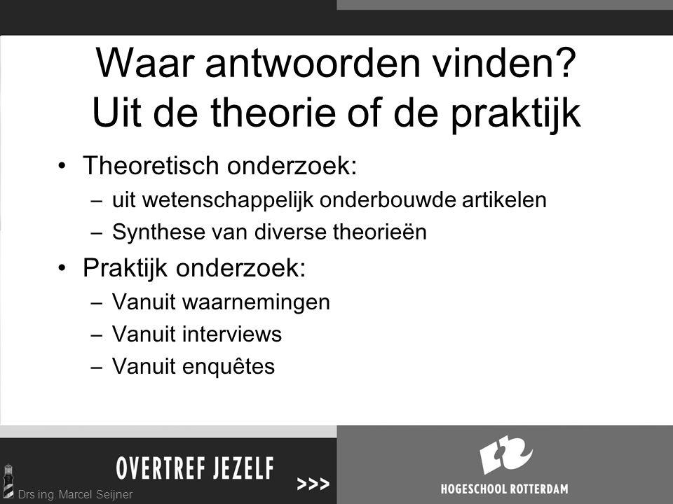 Drs ing.Marcel Seijner Waar antwoorden vinden.