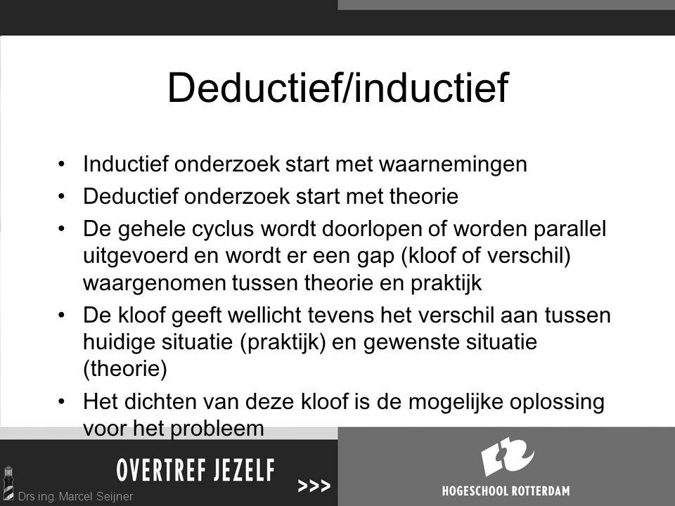 Drs ing. Marcel Seijner Deductief/inductief Inductief onderzoek start met waarnemingen Deductief onderzoek start met theorie De gehele cyclus wordt do