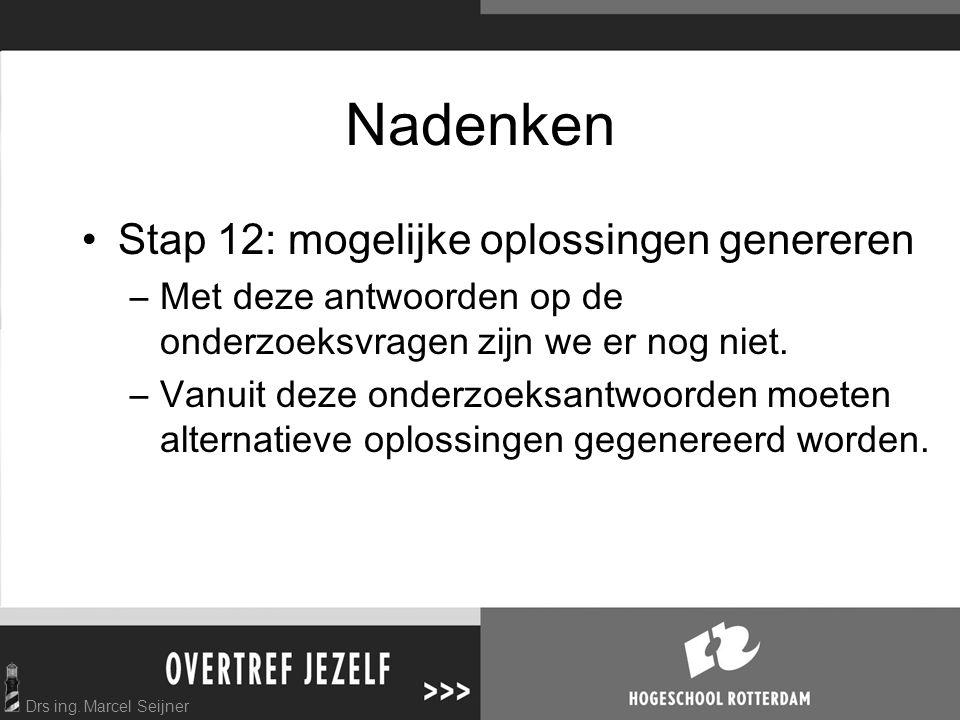 Drs ing. Marcel Seijner Nadenken Stap 12: mogelijke oplossingen genereren –Met deze antwoorden op de onderzoeksvragen zijn we er nog niet. –Vanuit dez