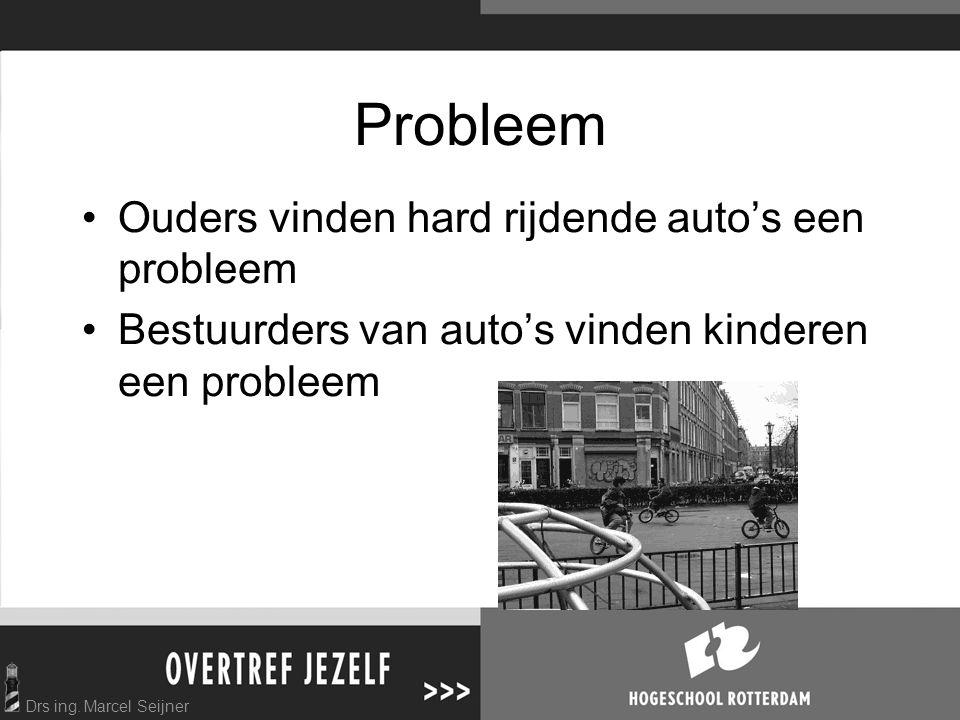 Drs ing. Marcel Seijner Probleem Ouders vinden hard rijdende auto's een probleem Bestuurders van auto's vinden kinderen een probleem
