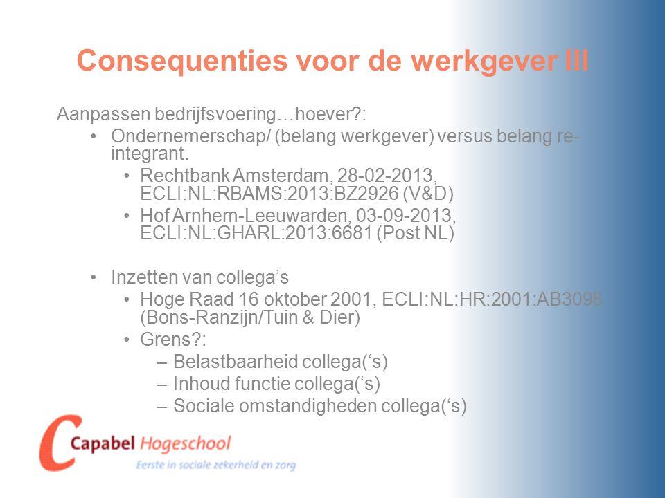 Consequenties voor de werkgever III Aanpassen bedrijfsvoering…hoever?: Ondernemerschap/ (belang werkgever) versus belang re- integrant.