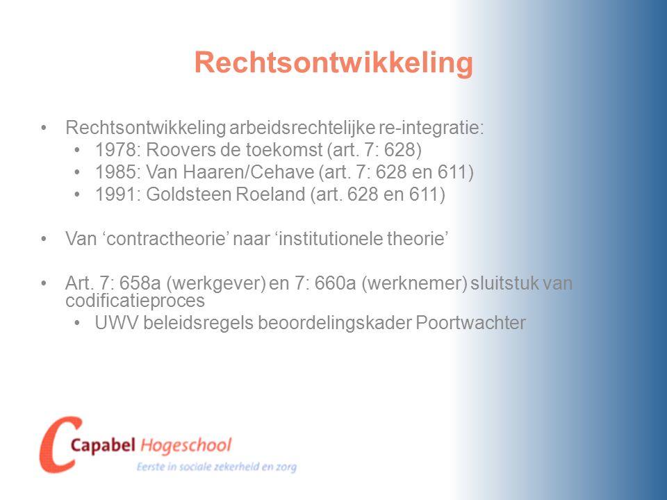 Rechtsontwikkeling Rechtsontwikkeling arbeidsrechtelijke re-integratie: 1978: Roovers de toekomst (art.