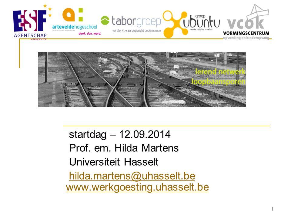 startdag – 12.09.2014 Prof. em. Hilda Martens Universiteit Hasselt hilda.martens@uhasselt.be www.werkgoesting.uhasselt.behilda.martens@uhasselt.be www