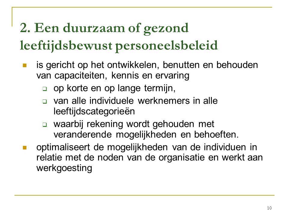 2. Een duurzaam of gezond leeftijdsbewust personeelsbeleid is gericht op het ontwikkelen, benutten en behouden van capaciteiten, kennis en ervaring 