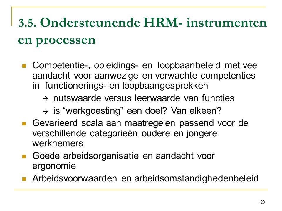3.5. Ondersteunende HRM- instrumenten en processen Competentie-, opleidings- en loopbaanbeleid met veel aandacht voor aanwezige en verwachte competent