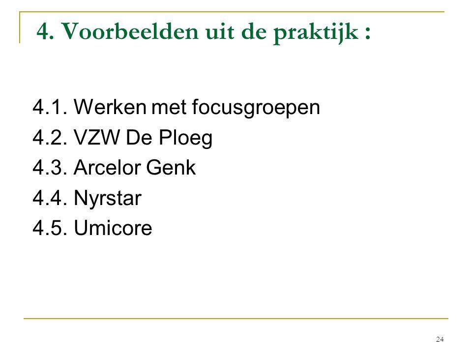 4. Voorbeelden uit de praktijk : 4.1. Werken met focusgroepen 4.2. VZW De Ploeg 4.3. Arcelor Genk 4.4. Nyrstar 4.5. Umicore 24