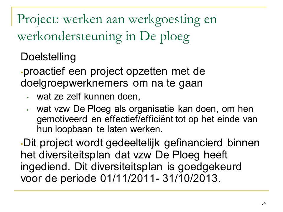 Project: werken aan werkgoesting en werkondersteuning in De ploeg Doelstelling proactief een project opzetten met de doelgroepwerknemers om na te gaan