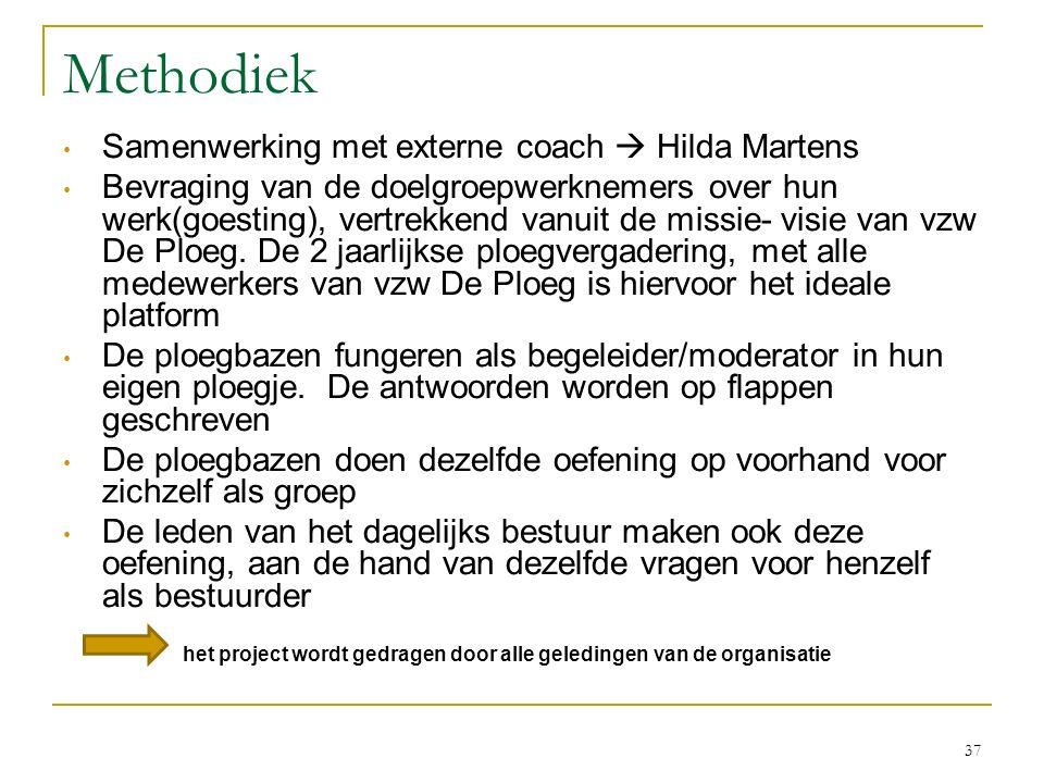 Methodiek Samenwerking met externe coach  Hilda Martens Bevraging van de doelgroepwerknemers over hun werk(goesting), vertrekkend vanuit de missie- v