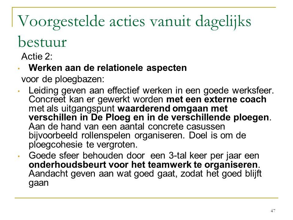 Voorgestelde acties vanuit dagelijks bestuur Actie 2: Werken aan de relationele aspecten voor de ploegbazen: Leiding geven aan effectief werken in een