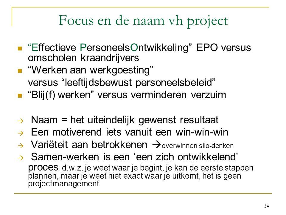 """Focus en de naam vh project """"Effectieve PersoneelsOntwikkeling"""" EPO versus omscholen kraandrijvers """"Werken aan werkgoesting"""" versus """"leeftijdsbewust p"""