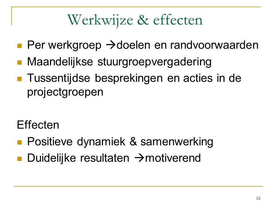 Werkwijze & effecten Per werkgroep  doelen en randvoorwaarden Maandelijkse stuurgroepvergadering Tussentijdse besprekingen en acties in de projectgro