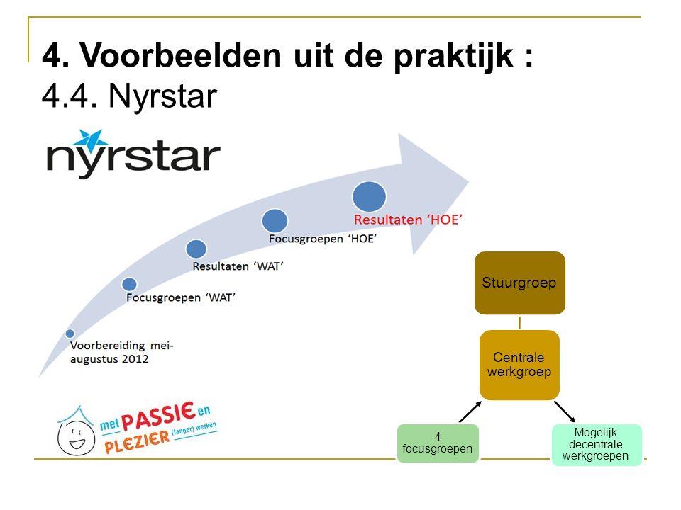 Centrale werkgroep Stuurgroep Mogelijk decentrale werkgroepen 4 focusgroepen 4. Voorbeelden uit de praktijk : 4.4. Nyrstar