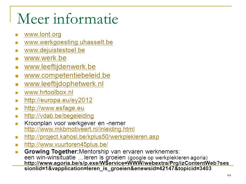 Meer informatie www.lont.org www.werkgoesting.uhasselt.be www.dejuistestoel.be www.werk.be www.leeftijdenwerk.be www.competentiebeleid.be www.leeftijd