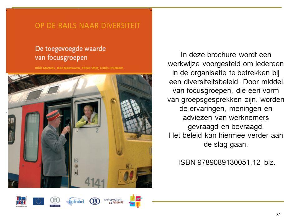 In deze brochure wordt een werkwijze voorgesteld om iedereen in de organisatie te betrekken bij een diversiteitsbeleid. Door middel van focusgroepen,
