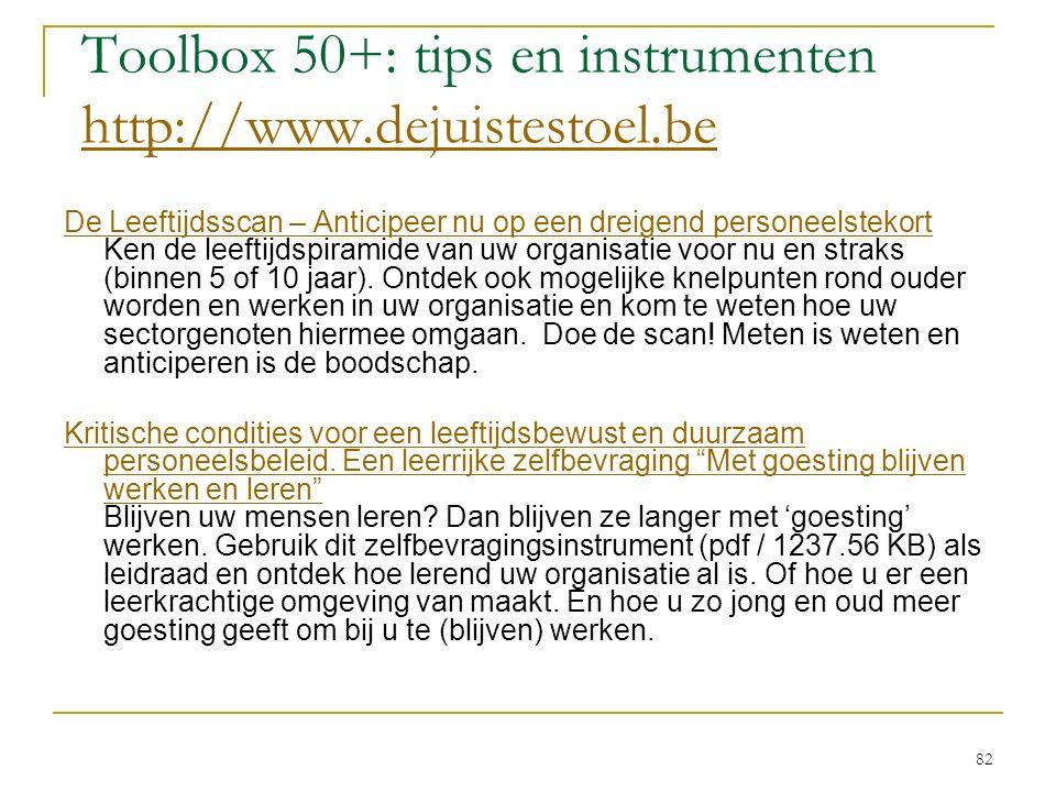 Toolbox 50+: tips en instrumenten http://www.dejuistestoel.be http://www.dejuistestoel.be De Leeftijdsscan – Anticipeer nu op een dreigend personeelst