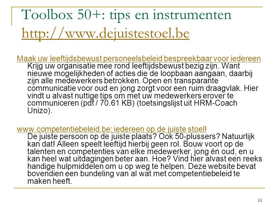 Toolbox 50+: tips en instrumenten http://www.dejuistestoel.be http://www.dejuistestoel.be Maak uw leeftijdsbewust personeelsbeleid bespreekbaar voor i