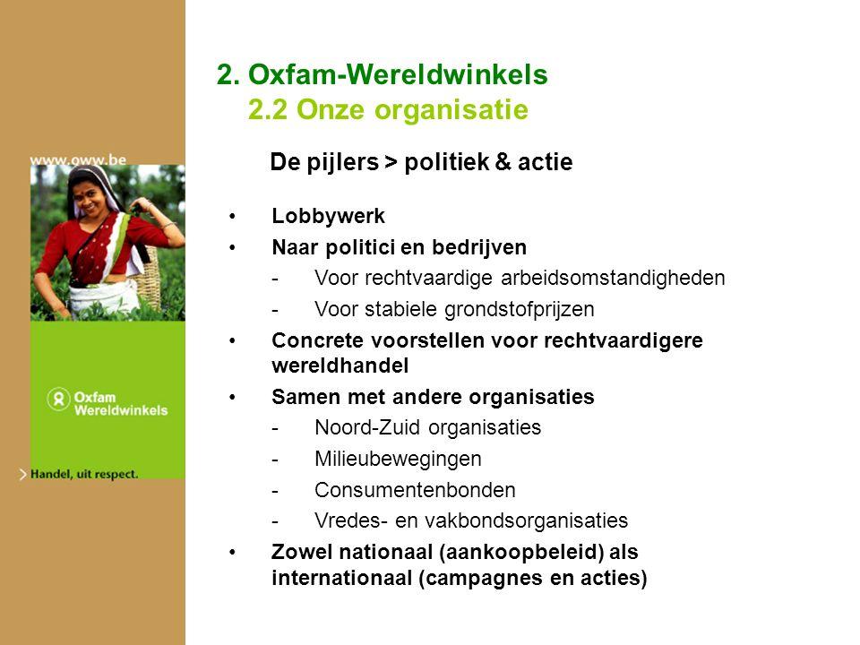 2. Oxfam-Wereldwinkels 2.2 Onze organisatie De pijlers > politiek & actie Lobbywerk Naar politici en bedrijven -Voor rechtvaardige arbeidsomstandighed