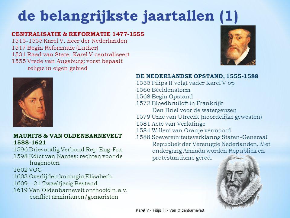 de belangrijkste jaartallen (1) CENTRALISATIE & REFORMATIE 1477-1555 1515-1555 Karel V, heer der Nederlanden 1517 Begin Reformatie (Luther) 1531 Raad van State: Karel V centraliseert 1555 Vrede van Augsburg: vorst bepaalt religie in eigen gebied DE NEDERLANDSE OPSTAND, 1555-1588 1555 Filips II volgt vader Karel V op 1566 Beeldenstorm 1568 Begin Opstand 1572 Bloedbruiloft in Frankrijk Den Briel voor de watergeuzen 1579 Unie van Utrecht (noordelijke gewesten) 1581 Acte van Verlatinge 1584 Willem van Oranje vermoord 1588 Soevereiniteitsverklaring Staten-Generaal Republiek der Verenigde Nederlanden.