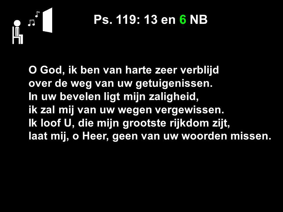 Ps. 119: 13 en 6 NB O God, ik ben van harte zeer verblijd over de weg van uw getuigenissen.