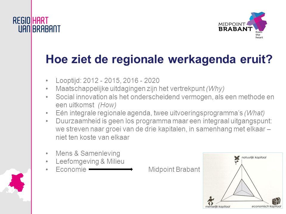 Hoe ziet de regionale werkagenda eruit? Looptijd: 2012 - 2015, 2016 - 2020 Maatschappelijke uitdagingen zijn het vertrekpunt (Why) Social innovation a