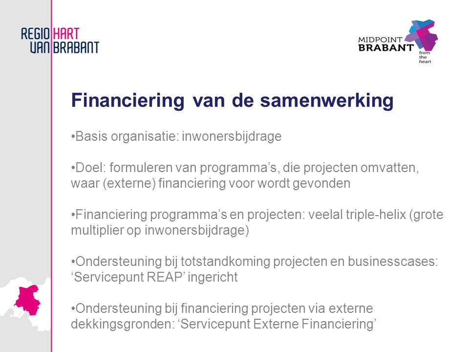 Financiering van de samenwerking Basis organisatie: inwonersbijdrage Doel: formuleren van programma's, die projecten omvatten, waar (externe) financie