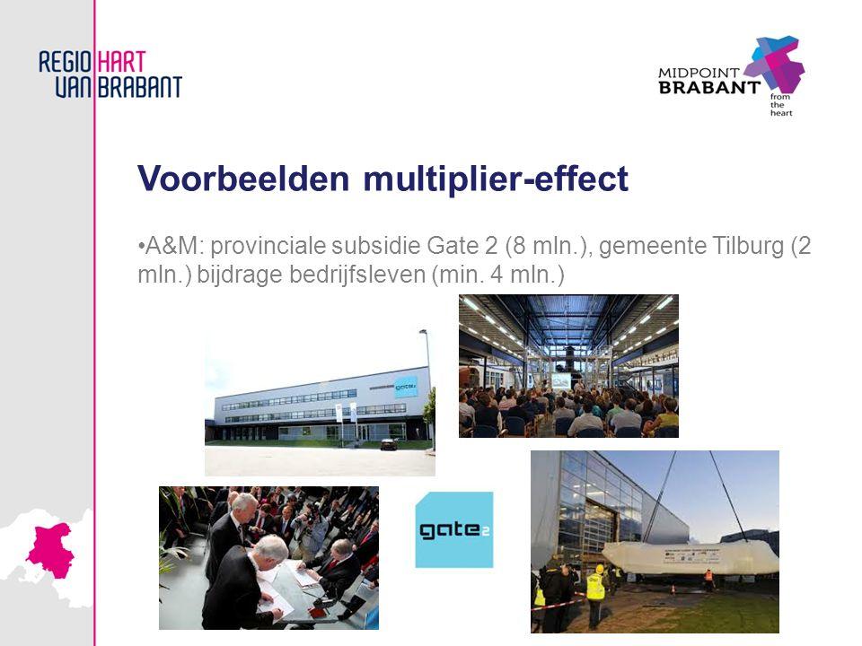 Voorbeelden multiplier-effect A&M: provinciale subsidie Gate 2 (8 mln.), gemeente Tilburg (2 mln.) bijdrage bedrijfsleven (min. 4 mln.)