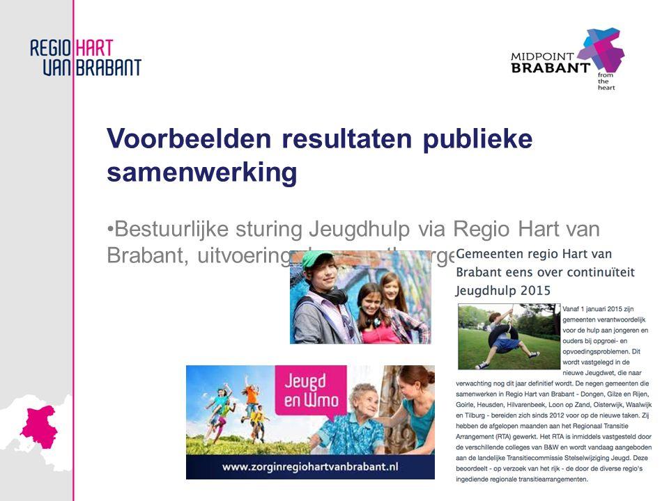 Voorbeelden resultaten publieke samenwerking Bestuurlijke sturing Jeugdhulp via Regio Hart van Brabant, uitvoering door gastheergemeente