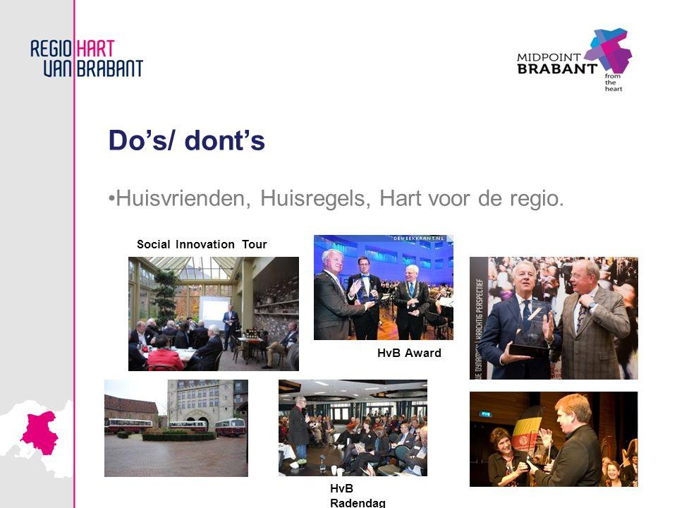 HvB Award Do's/ dont's Huisvrienden, Huisregels, Hart voor de regio. HvB Radendag Social Innovation Tour