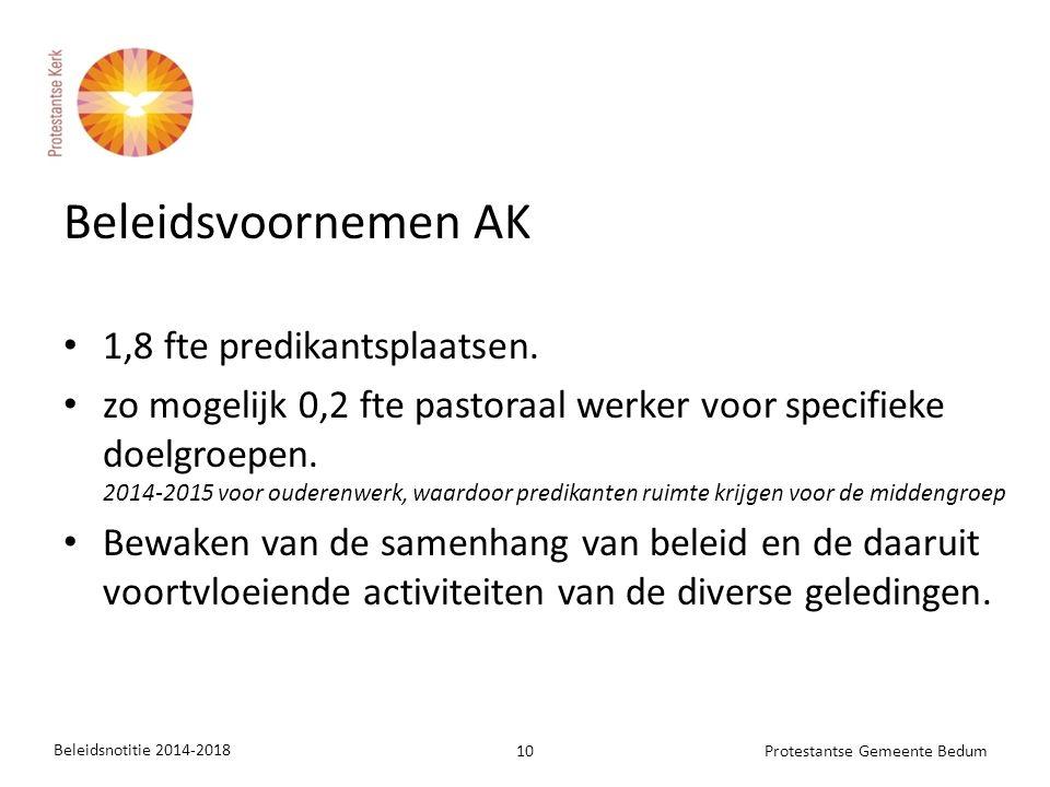 Beleidsvoornemen AK 1,8 fte predikantsplaatsen. zo mogelijk 0,2 fte pastoraal werker voor specifieke doelgroepen. 2014-2015 voor ouderenwerk, waardoor