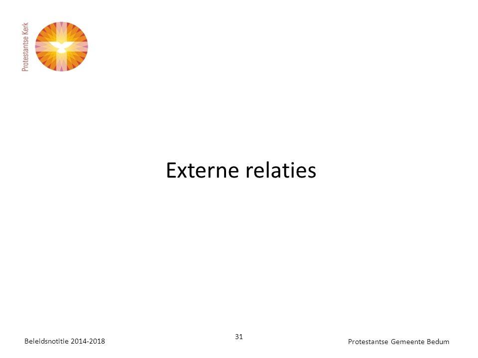 Beleidsnotitie 2014-2018 31 Protestantse Gemeente Bedum Externe relaties