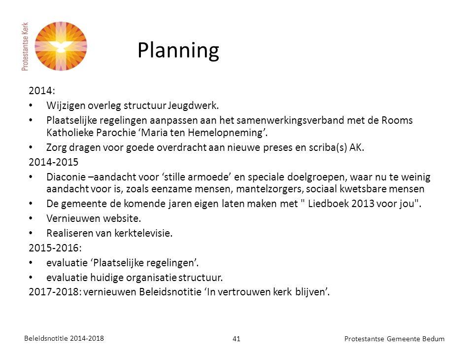 2014: Wijzigen overleg structuur Jeugdwerk. Plaatselijke regelingen aanpassen aan het samenwerkingsverband met de Rooms Katholieke Parochie 'Maria ten