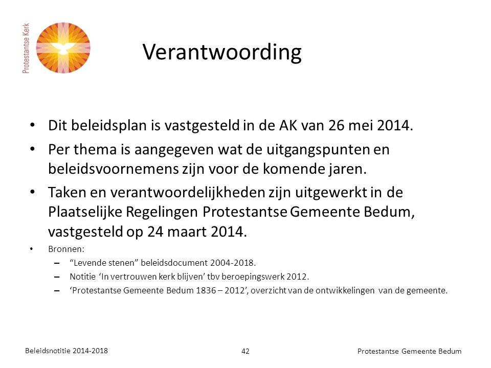 Dit beleidsplan is vastgesteld in de AK van 26 mei 2014. Per thema is aangegeven wat de uitgangspunten en beleidsvoornemens zijn voor de komende jaren