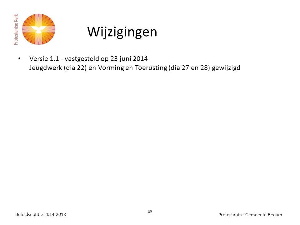 Versie 1.1 - vastgesteld op 23 juni 2014 Jeugdwerk (dia 22) en Vorming en Toerusting (dia 27 en 28) gewijzigd Beleidsnotitie 2014-2018 43 Protestantse Gemeente Bedum Wijzigingen