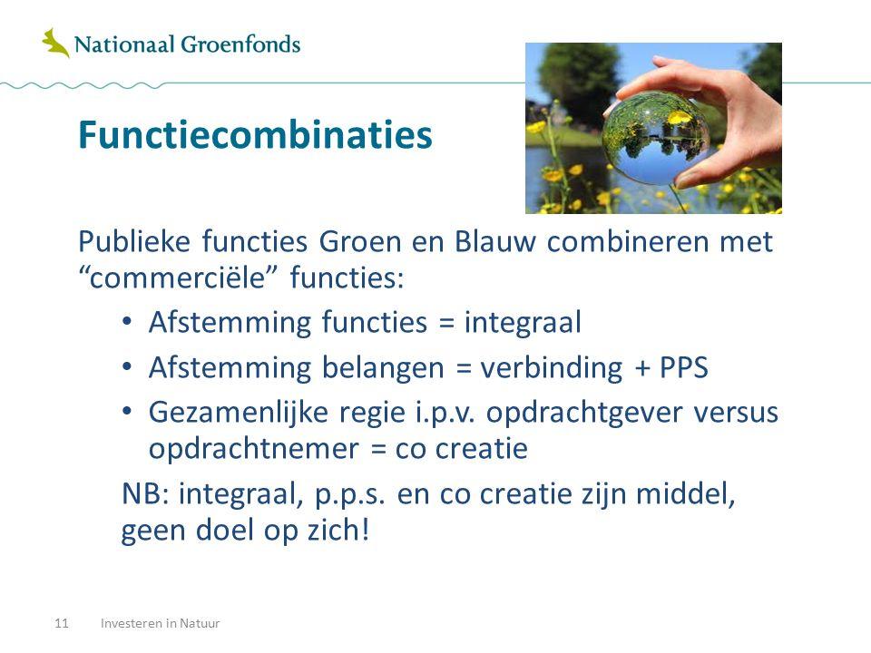 """Functiecombinaties 11Investeren in Natuur Publieke functies Groen en Blauw combineren met """"commerciële"""" functies: Afstemming functies = integraal Afst"""