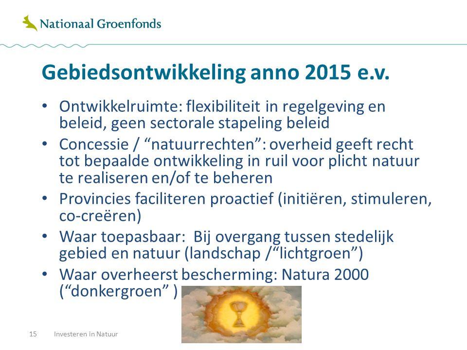 Gebiedsontwikkeling anno 2015 e.v. 15Investeren in Natuur Ontwikkelruimte: flexibiliteit in regelgeving en beleid, geen sectorale stapeling beleid Con