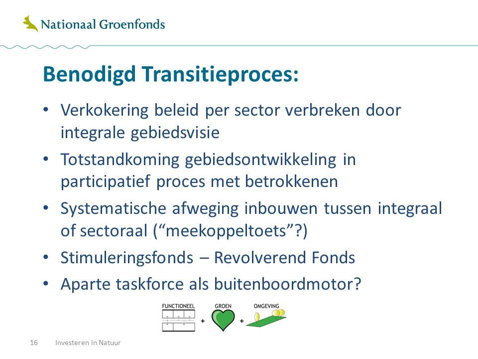 Benodigd Transitieproces: 16Investeren in Natuur Verkokering beleid per sector verbreken door integrale gebiedsvisie Totstandkoming gebiedsontwikkelin