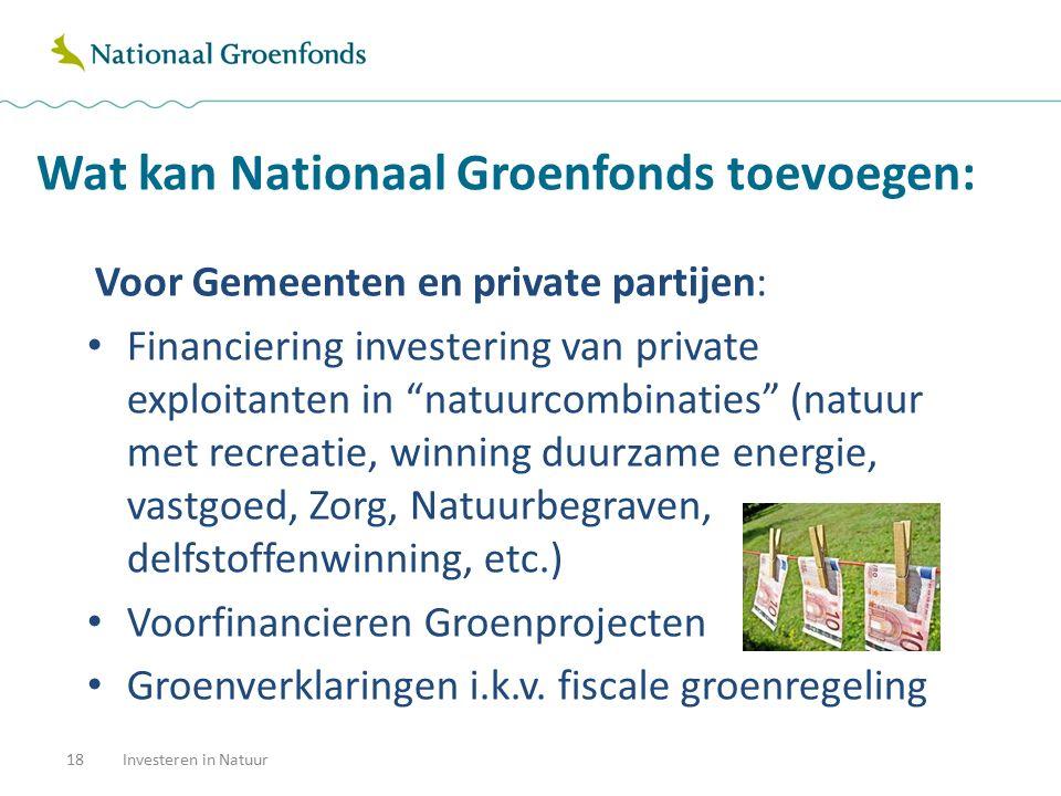 Wat kan Nationaal Groenfonds toevoegen: 18Investeren in Natuur Voor Gemeenten en private partijen: Financiering investering van private exploitanten i