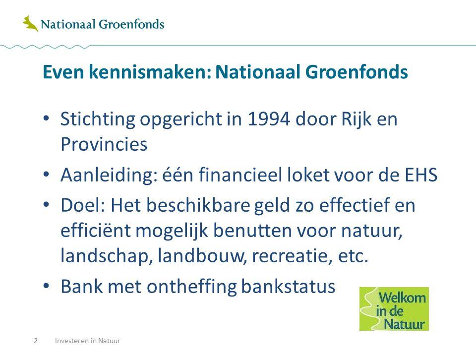 Even kennismaken: Nationaal Groenfonds Stichting opgericht in 1994 door Rijk en Provincies Aanleiding: één financieel loket voor de EHS Doel: Het besc