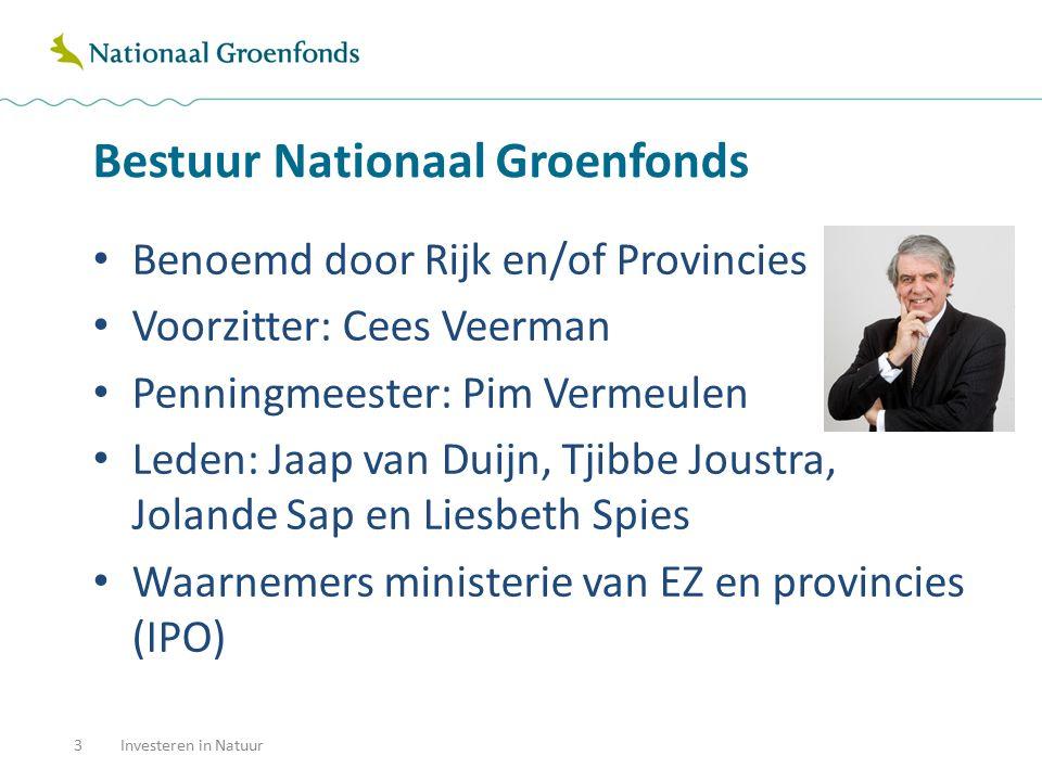 Bestuur Nationaal Groenfonds Benoemd door Rijk en/of Provincies Voorzitter: Cees Veerman Penningmeester: Pim Vermeulen Leden: Jaap van Duijn, Tjibbe J