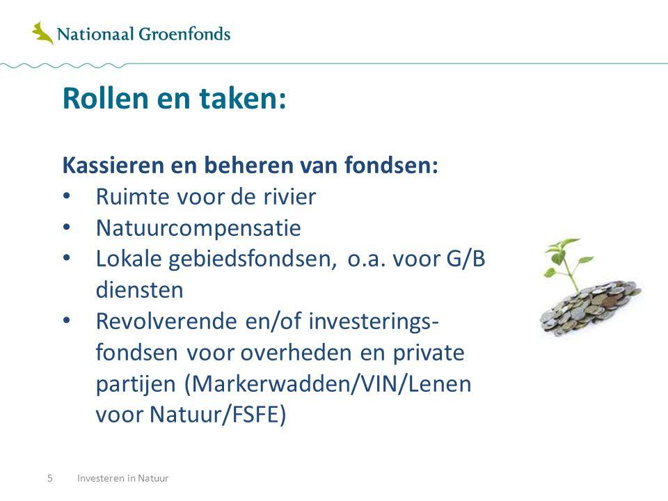 Rollen en taken: 6 Financieren: Stelselfinancieringen (EHS) SKNL-financieringen (voorfinanciering functieverandering) Provinciale rekening-couranten en fondsen Groenfinancieringen/co financieringen Overbruggingsleningen Bedrijfsverplaatsingen Financieren van innovatieve groene projecten Investeren in Natuur