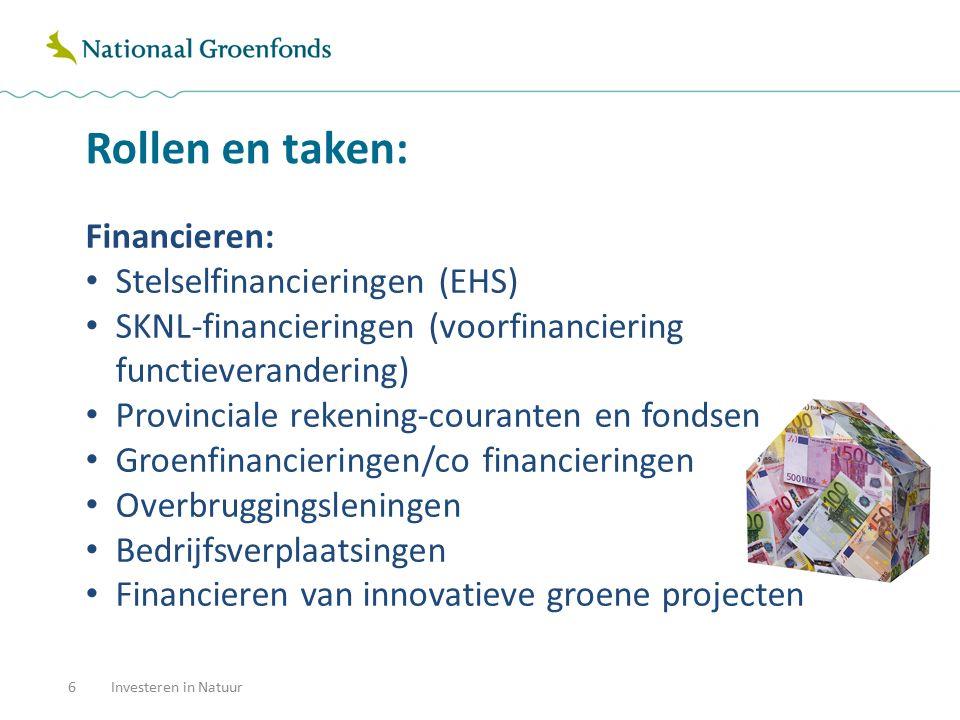 Rollen en taken: 6 Financieren: Stelselfinancieringen (EHS) SKNL-financieringen (voorfinanciering functieverandering) Provinciale rekening-couranten e